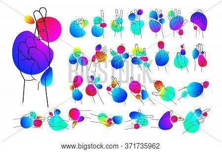 Set Of Outlines Of Human Hands, Movements And Signs With Fingers, On A Background Of Gradient Shapes