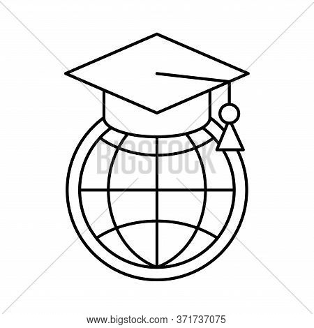 Global Sphere With Graduation Cap Silhouette Style Icon Design, Education Online And Elearning Theme
