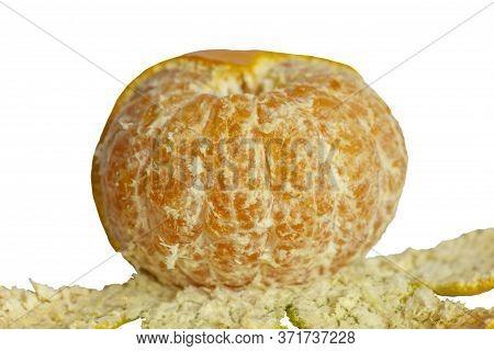 Juicy Orange Tangerine Without Peel,fresh Peeled Mandarin Fruit Isolated On White Background With Cl