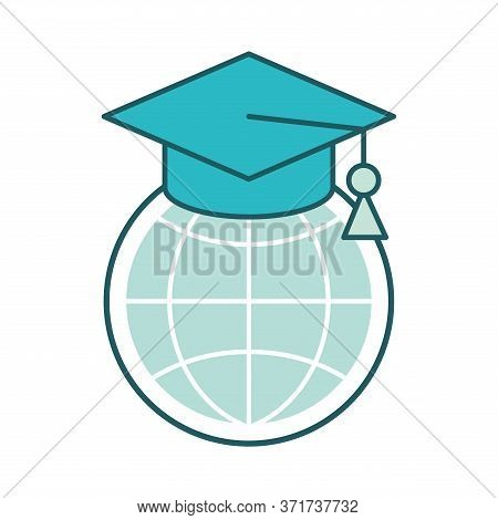 Global Sphere With Graduation Cap Line And Fill Style Icon Design, Education Online And Elearning Th