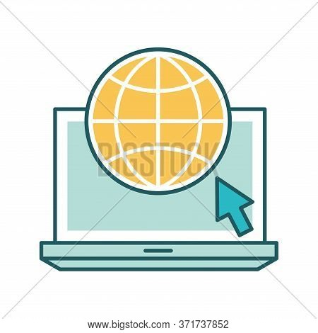 Global Sphere With Cursor On Laptop Line And Fill Style Icon Design, Education Online And Elearning