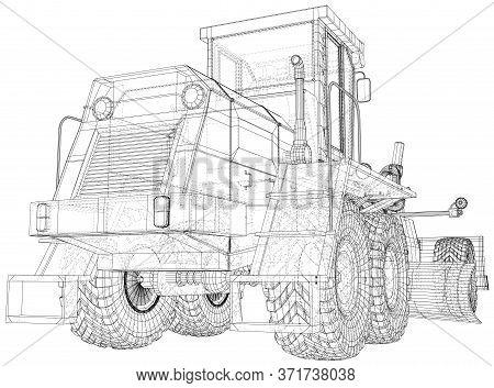 Road Grader. Heavy Equipmen Vector Illustration. Wire-frame Line Isolated. Vector Rendering Of 3d