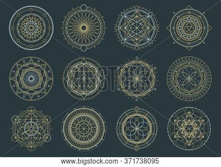 Vector Set Of Sacred Geometric Figures, Dreamcatcher And Mystic Symbols, Alchemical And Spiritual Si