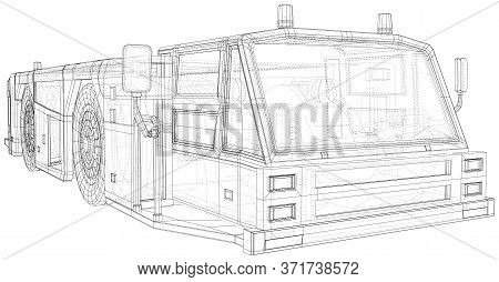 Airplane Tow Truck Illustration Vector. Wire-frame Line Isolated. Vector Rendering Of 3d