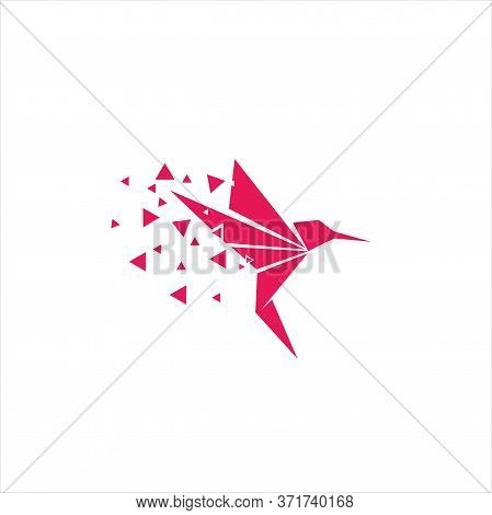 Creative And Simple Origami Bird Logo Design Vector On White Background, Bird Origami Pixel Logo