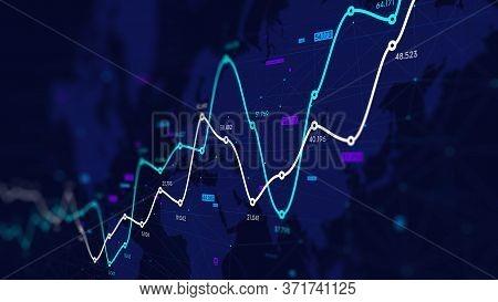 Data Visualization Digital Analytics, Financial Schedule, Dashboard, Monitor Screen In Perspective