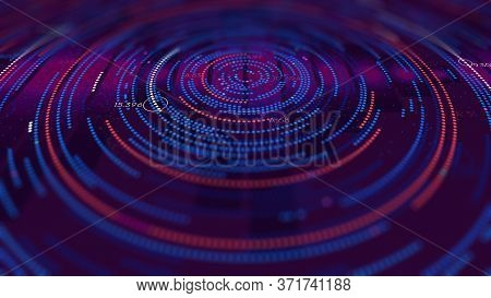 Futuristic Infographics Background, Analytical Spiral Of Information, Monitor Screen In Perspective
