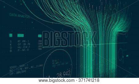 Futuristic Technology Big Data Sorting, Information Artificial Neural Network, Monitor Screen In Per