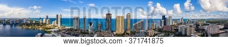 Aerial Sunny Isles Beach Miami Dade Florida Panorama Highrise Beachfront Architecture