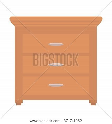 Chest Of Drawers Isolated Piece Of Furniture. Vector Commode Of Brown Color, Bureau Or Night Table.