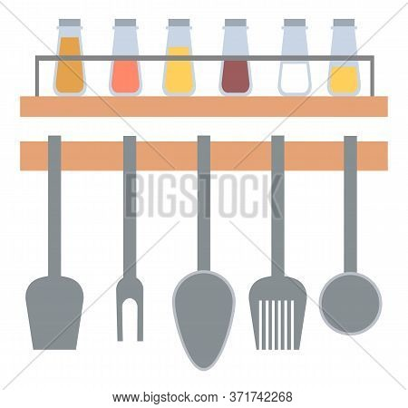 Kitchenware Hanging On Wall, Spoon And Fork, Spatula Cooking Metal Equipments, Set Of Seasoning In G