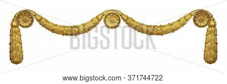 Golden Decorative Element Of The Interior With The Image Of The Helmet From The Ancient Greek Myth.