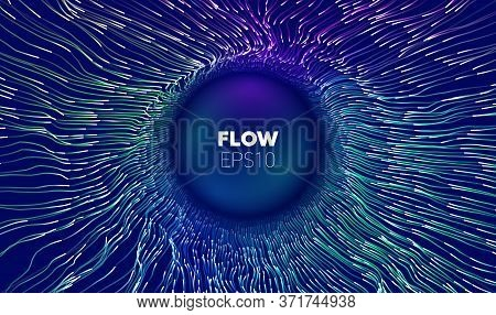 Wave Flow. Technology Digital Wave Background Concept. Concentric Data Flow. Big Data Abstract Vecto