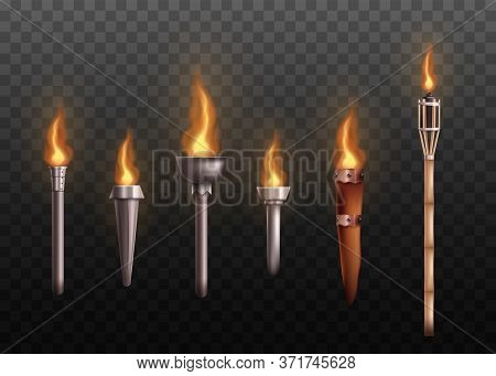 Realistic Medieval Torch Set With Burning Fire, Ancient Metal And Wooden Torches