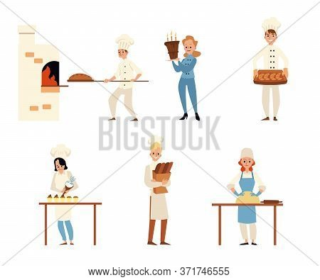 Cartoon People In Bakery - Flat Isolated Set. Chef Men And Women Baking Bread