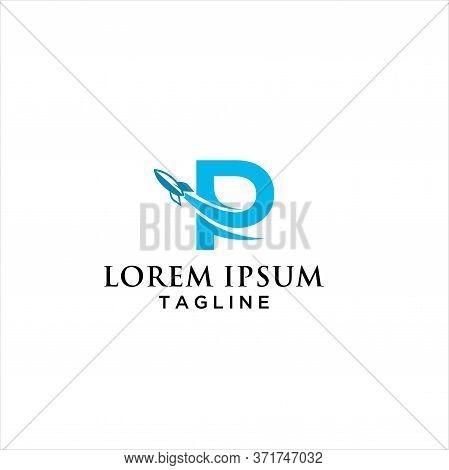 Initial Letter P Rocket Logo Design, Letter P, Letter R Rocket Logo Template Design Vector, Emblem,