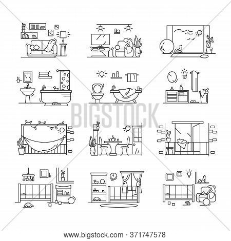 House Icons Set. Line Pictograms Of Modern Comfortable Children Room, Nursery, Kitchen, Bathroom, Ba