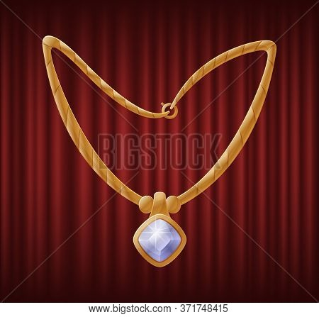 Golden Necklace And Pendant With Diamond Shaped White Gemstone. Shiny, Elegant And Luxury Accessorie