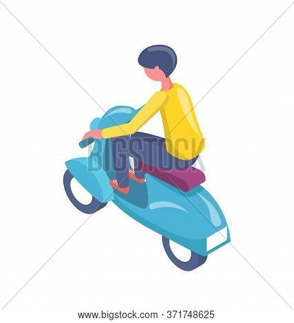 Person Sitting On Scooter, Electric Transport, Urban Equipment, Human In Casual Clothes Driving Bike