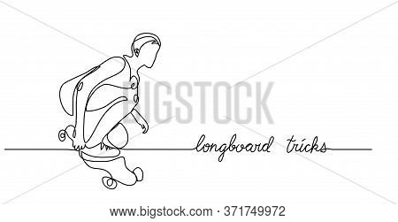 Longboard Skate Trick. Simple Vector Background, Web Banner, Poster. One Continuous Line Drawing Of