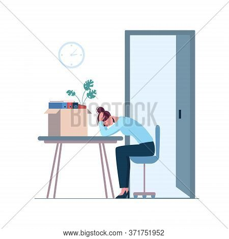 Dismissed Woman Crying In The Office, Depression. Job Loss Due To Crisis, Contraction, Coronavirus,