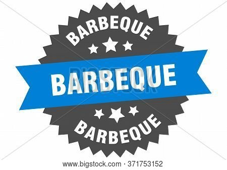 Barbeque Sign. Barbeque Blue-black Circular Band Label