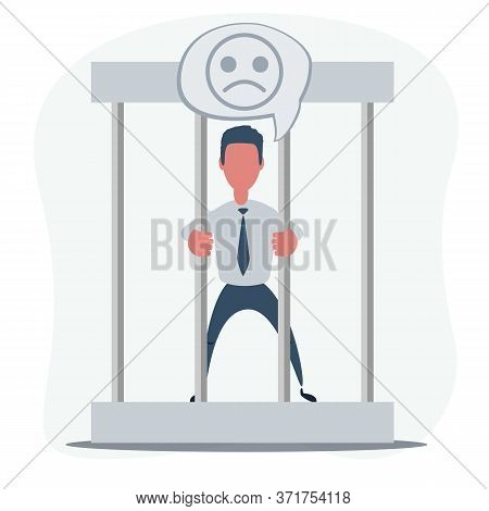 Young Businessman Behind The Bars In Prison. Man Holding Bars Isolated On White. Vector Flat Design