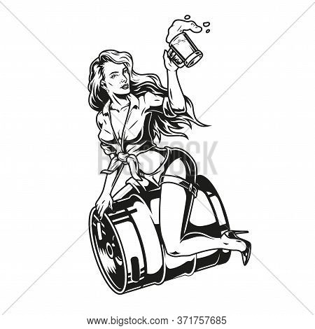 Pin Up Girl Sitting On Beer Keg And Holding Mug Full Of Foamy Fresh Drink In Vintage Monochrome Styl