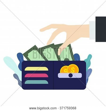 Hand Takes A Dollar Bill From The Wallet. Wallet With Money In Flat Style. Stealing Cash Concept. Is