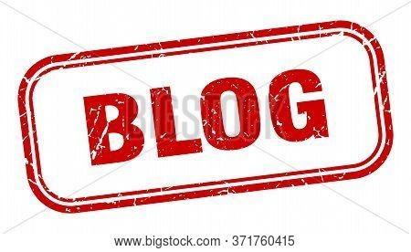 Blog Stamp. Blog Square Grunge Red Sign