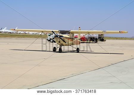 June 10, 2020 In Mojave, Ca:  General Aviation Single Engine Aircraft On The Tarmac Taken In The Moj