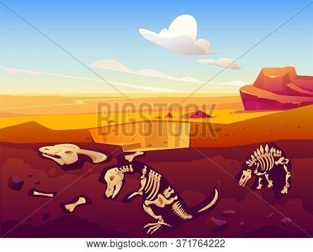 Fossil Dinosaurs Excavation, Paleontology And Archeology Works. Vector Cartoon Illustration Of Deser