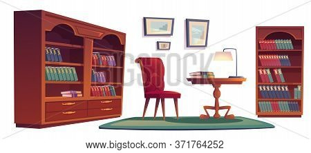 Library Vip Interior Set With Bookcases, Chair, Desk And Lamp. Vector Cartoon Set Of Old Luxury Furn