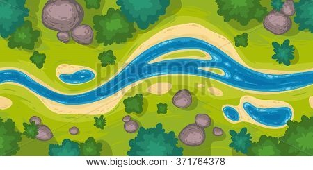 Flowing River Top View. Vector Seamless Border With Nature Landscape With Blue Water Stream, Green G