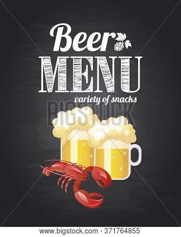 Beer Menu. Variety Of Snacks. Chalkboard Background. Vector Illustration