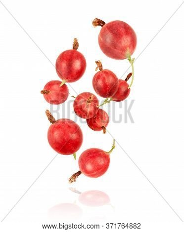 Gooseberry In The Air, Isolated On A White Background