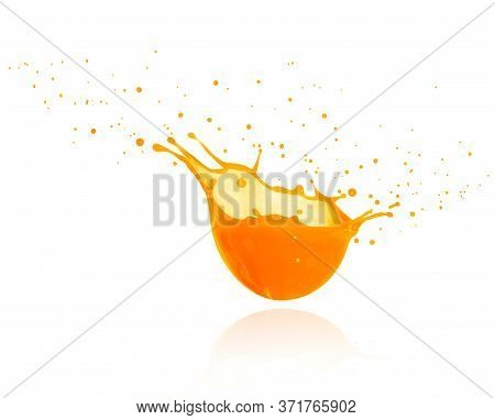 Splashes Of Fresh Orange Juice Isolated On White Background. 3d Illustration