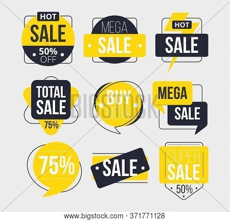 Abstract Sale Labels Set With Inscription Vector Illustration. Total Super Mega Sale Buy Now Flat St