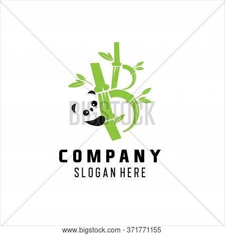 Panda Logo Icon With Trees Logo Design Template. Lazy Panda In Trees Logo Design Vector.