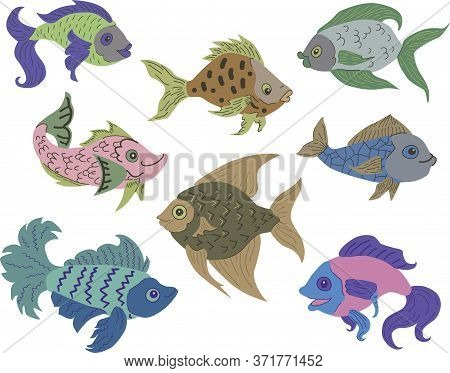 Isolated Fish Set. Set Of Freshwater Aquarium Cartoon Fishes. Varieties Of Ornamental Popular Color