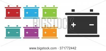 Black Car Battery Icon Isolated On White Background. Accumulator Battery Energy Power And Electricit
