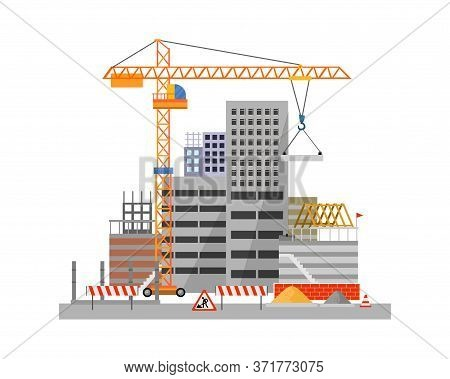 City Construction Process On White Background