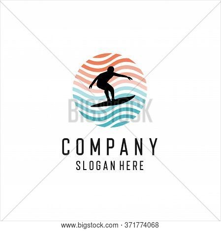 Summer Surfing Sports Vector Logo Collection With Surfer, Surf Board And Ocean Wave,  Logo Design In