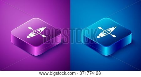 Isometric Kayak And Paddle Icon Isolated On Blue And Purple Background. Kayak And Canoe For Fishing