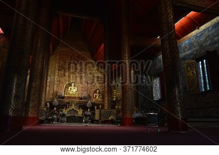 Chiang Mai Thailand-11 January 2020:phra Singh Buddha Statue,buddha Images Are Chiang Saen Art.presu