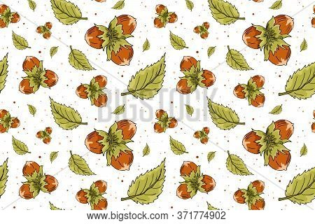Vector Seamless Pattern With Hazelnuts And Leaves. Hazelnut Nuts Hand Drawn Sketch. Organic Healthy