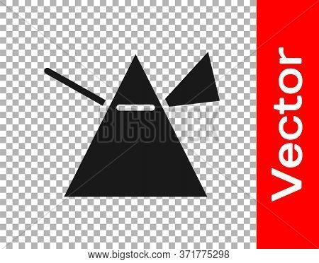 Black Light Rays In Prism Icon Isolated On Transparent Background. Ray Rainbow Spectrum Dispersion O