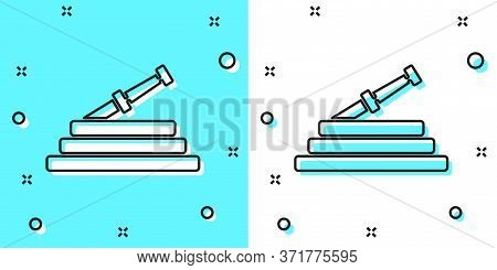 Black Line Garden Hose Or Fire Hose Icon Isolated On Green And White Background. Spray Gun Icon. Wat