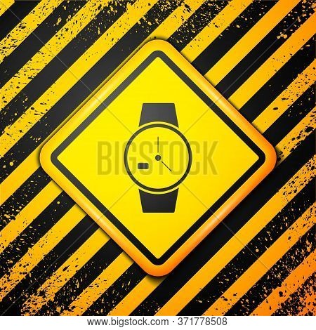 Black Wrist Watch Icon Isolated On Yellow Background. Wristwatch Icon. Warning Sign. Vector Illustra
