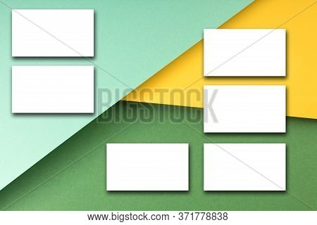 Business Card Blank Over Colorful Background. Copy Space For Text. Top View.business Card Blank Over